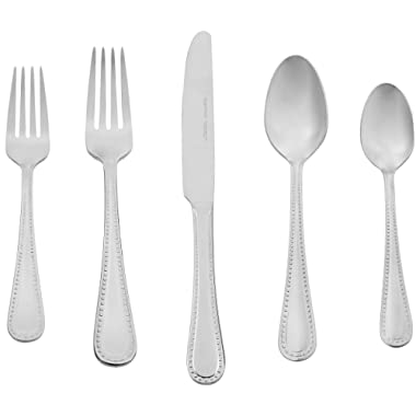 AmazonBasics 20-Piece Stainless Steel Flatware Set with Pearled Edge, Service for 4