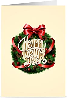 New Year Cards - One Jade Lane - Happy New Years Cards, 5x7, Heavy Stock, Set of 18 Holiday Cards & Envelopes, Christmas Cards.