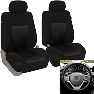 FH Group - FB060102 Trendy Elegance Car Seat Cover, s, Airbag & Split Ready w. FH3001 Silicone Steering Wheel Cover, Solid...