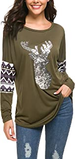 Women Christmas Shirts Long Sleeve Round Neck Casual Sparkly Reindeer Tunic Tops Blouse