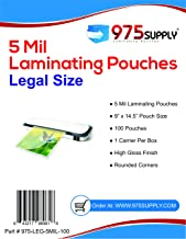 975 Supply 5 Mil Clear Legal Size Thermal Laminating Pouches, 9 X 14.5 inches, 100 Pouches