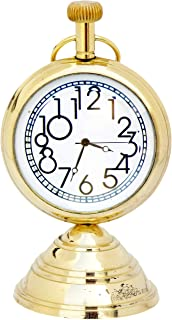 JD'Z COLLECTION Antique Brass Desk & Shelf Clock Nautical Desk Decor Paperweight Clock for Home Office Reception Counter C...