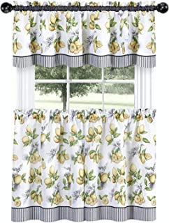 GoodGram Complete 3 Pc Café Style Semi Sheer Country Lemons Kitchen Curtain Tier & Valance Set - Assorted Sizes (24 in. Long)
