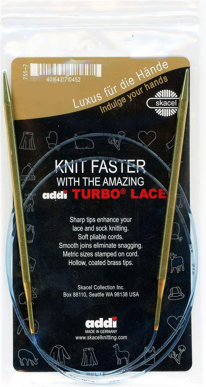 addi Max Charlotte Mall 44% OFF Knitting Needle Circular Lace Blue Skacel Finish Brass Tip