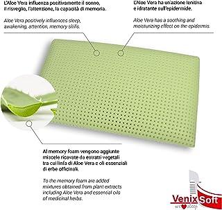 venixsoft Almohada viscoelástica para Cama Espuma de Memoria, Anti Cervical 72x42x13,8cm-Producto Sanitario Clase 1- con lympha de Aloe Vera con Funda en algodón