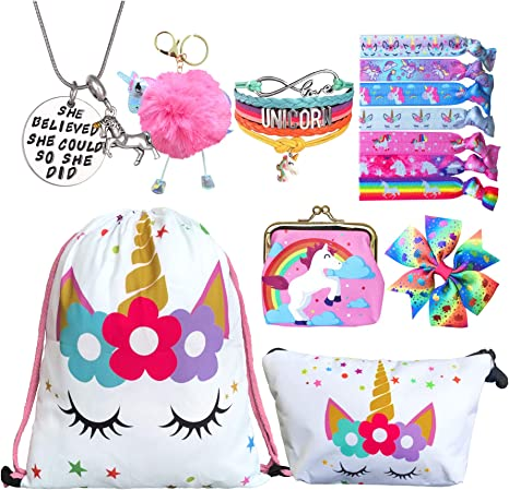 8 PCS Unicorn Gifts for Girls - Unicorn Bags Bracelet Necklace Stickers Keychain Hair Ties (White Star 3)