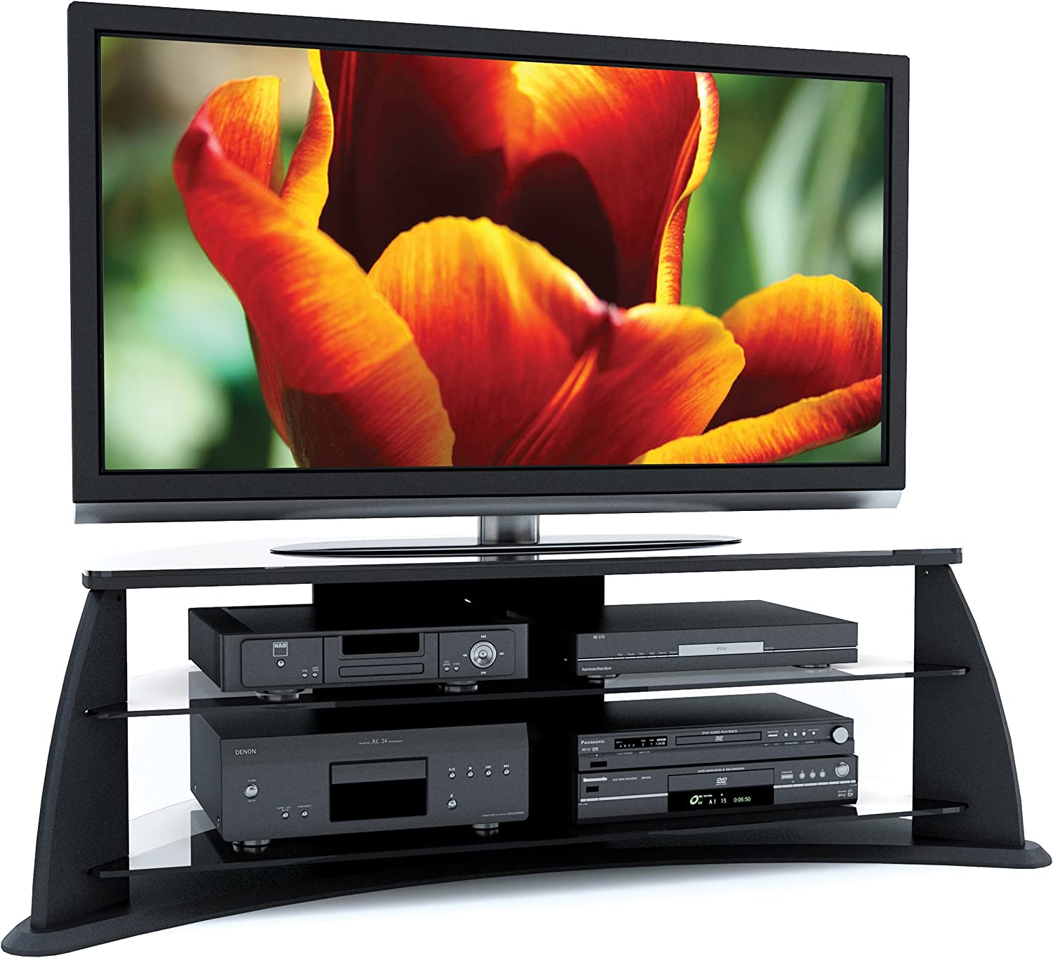 Sonax Florence Brand new 51-Inch Midnight Black Max 70% OFF Glass Stand with TV Shelve
