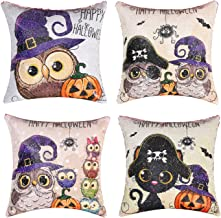 cygnus Reversible Halloween Sequin Pillow Cover Skull and Pumpkin Witch Daily Decorations Sofa Throw Pillow Case Cushion Covers Set of 4 16x16 inch(Pink Sequin)