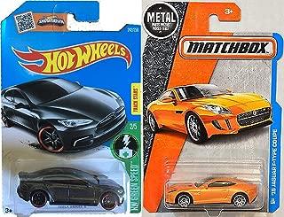 Jaguar Matchbox & Tesla Model S Set Hot Wheels gray #241 2016 HW Green Speed + '15 Jaguar F-Type Coupe Orange PROTECTIVE CASES
