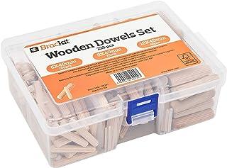 Bulk Set van 225x Mixed-Size Solid Premium berkenhouten deuvels – Tapered en geribde houten berkendeuvels voor doe-het-zel...