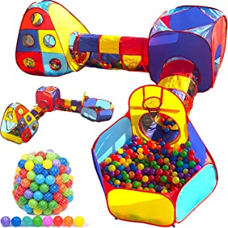 Playz Toddler Playhouse Jungle Gym Play Tent and 500 Ball Pit Balls Bundle