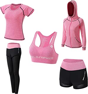Abbigliamento Sportivo da Donna, T-Shirt 5set Suit per Sport Yoga Ginnastica Sport Include Manica Lunga e Corta, Pantaloni...