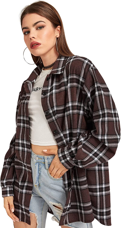 SheIn Women's Pocket Plaid Long Sleeve Shirt Top Button Down Longline Blouse