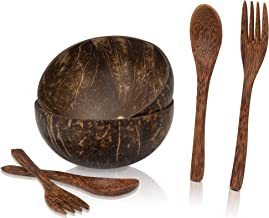 Culinath Coconut Bowls with Spoons - Coconut Bowl Set with 2 Coco Bowls, 2 Coconut Spoons, and 2 Coconut Forks - Vegan Smo...
