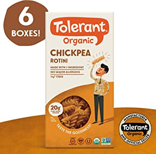 Tolerant Organic Gluten Free Chickpea Rotini Pasta, 8 Ounce Box (Case of 6), Plant Based Protein, Vegan Pasta, Single Ingredient Protein Pasta, Whole Food, Clean Pasta, Low Glycemic Index Pasta