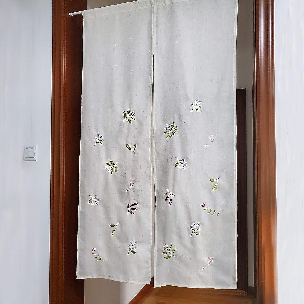 道敏感な被害者PKT 麻のれん刺繍高級ロングナチュラル日本式のれん 85x150CM