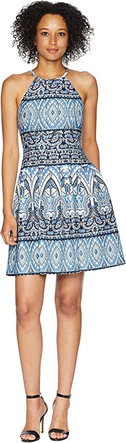 Printed Scuba Halter Fit and Flare Dress