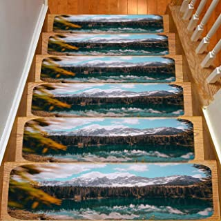13-Pack Creative Color Printed Flannel Stair mat,Non-Slip,Snow Mountain Continuous Under The Lake Crystal Clear Bottom Surrounded by Safety Slip Resistant Stair mat Protection Children,Elders,Dogs