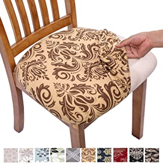 Comqualife Stretch Printed Dining Chair Seat Covers, Removable Washable Anti-Dust Upholstered Chair Seat Cover for Dining Room, Kitchen, Office (Set of 4, Gold)