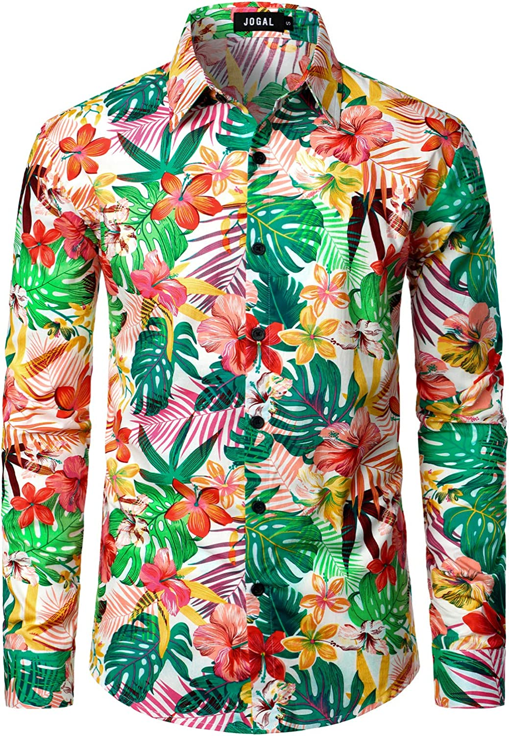 JOGAL Men's Floral Long Sleeve Casual Button Down Shirts