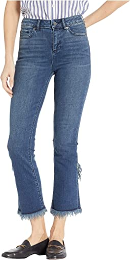 Five-Pocket Tulip Hem Skinny Jeans in Meadow Wash