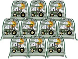 Farm Green Tractor Time Drawstring Bags Kids Birthday Party Supplies Favor Bags 10 Pack