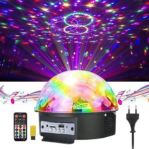 GUSODOR LED Bluetooth Éclairage Lampe de Scène à Télécommande&Commande Sonore Feux de Balle Magique en Cristal Sonore...