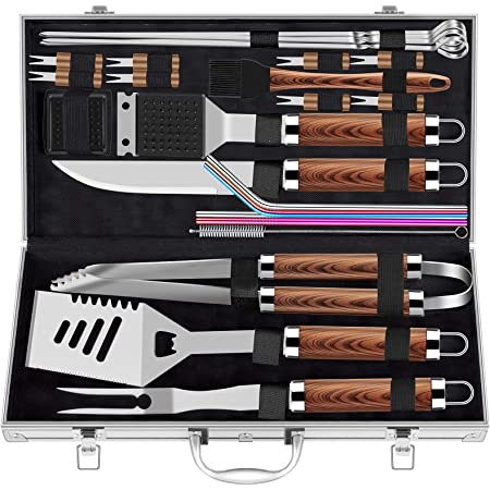 ROMANTICIST 25pcs Extra Thick Stainless Steel Grill Tool Set for Men, Heavy Duty Grilling Accessories Kit for Backyard, BBQ Utensils Gift Set with Spatula,Tongs in Aluminum Case for Birthday Brown