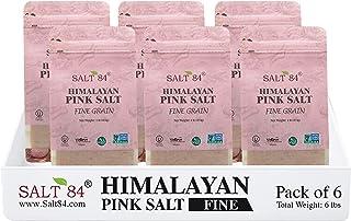 Salt84 Pink Gourmet Himalayan Salt - 1 Lbs Each, Fine Grain (Pack of 6)