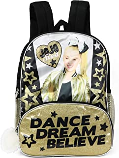 35c4a6beef161 Nickelodeon JoJo Siwa 16  Gold Glitter   Black Backpack With Pom Zipper 2  Front Compartments