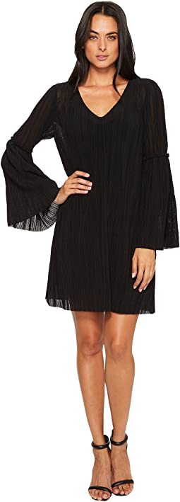 Accordion Bell Sleeve Shift Dress