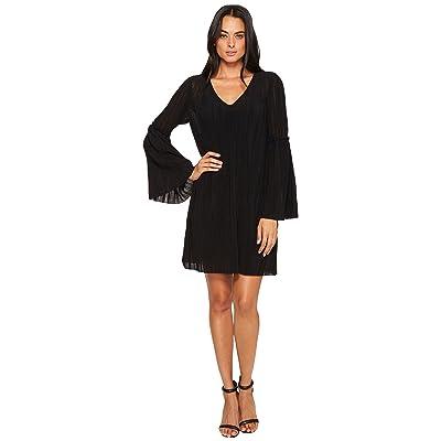 Michael Stars Accordion Bell Sleeve Shift Dress (Black) Women