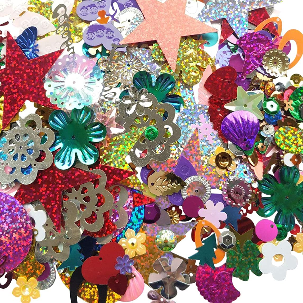 Chenkou Craft 1 Bag 100grams Assorted Styles Sequin for Wedding Christmas Clothes Jewelry Sequins (Assorted 100grams)