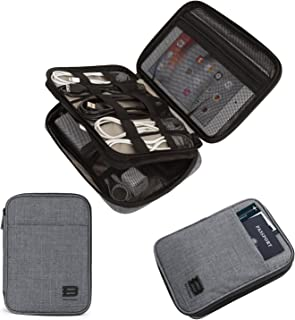BAGSMART Electronic Organizer Double-Layer Travel Cable Organizer Electronics Accessories Cases for Cables, iPhone, Kindle, Grey