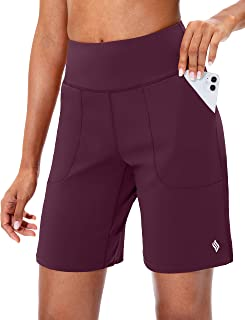 Sponsored Ad - SANTINY Bermuda Shorts for Women with Zipper Pocket Womens High Waisted Long Shorts for Running Workout Ath...