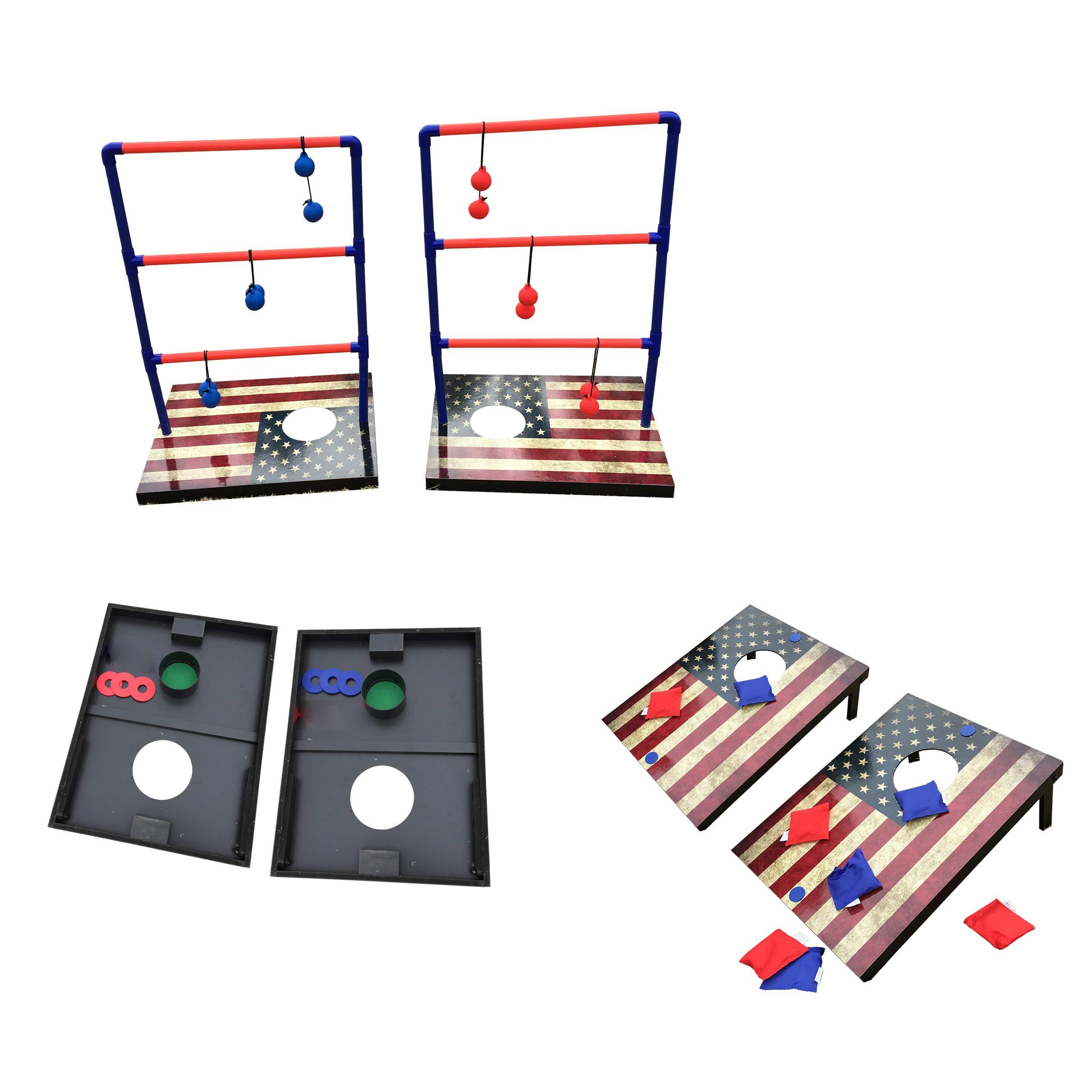 SportBeats - Juego de tostadas combinado, tablas de corné, puf para tartas, escalera y arandela 3 juegos en 1 para uso en interiores y exteriores: Amazon.es: Deportes y aire libre