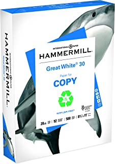 Hammermill Paper, Great White 30% Recycled Printer Paper, 8.5 x 11 Paper, Letter Size, 20lb, 92 Bright, 1 Ream / 500 Sheets (086710R) Acid Free Paper