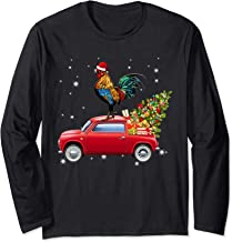 Chicken With Santa's Hat Riding Red Truck-Chicken Christmas Long Sleeve T-Shirt