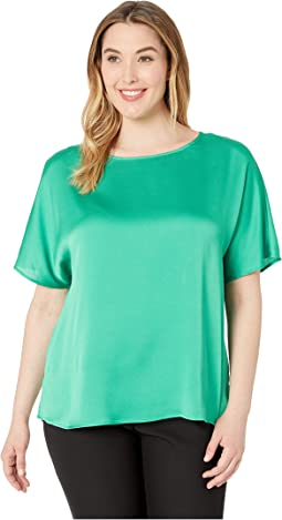 Plus Size Short Sleeve Pleated Back Hammer Satin Blouse