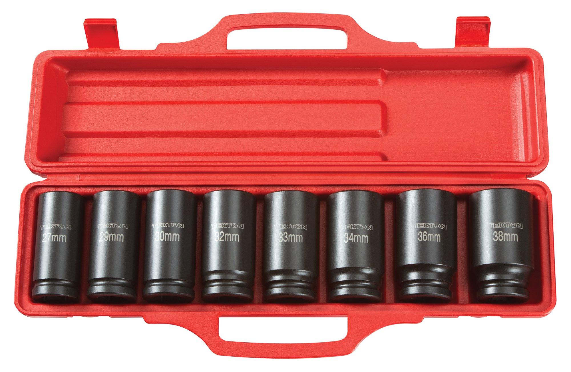 13-Sockets Metric Cr-V 7 mm 6-Point TEKTON 3//8-Inch Drive Deep Impact Socket Set 47925 19 mm