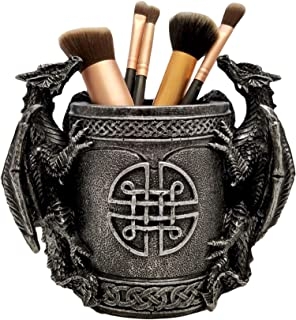 DWK 6.4-inch Literary Beasts Twin Double Dragon Celtic Knot Pattern Gothic Pen Pencil Desk Organizer Makeup Brush Holder A...