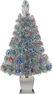 Colorful Fiber Optic Silver Artificial Christmas Tree 32 inch with Stand. Perfect for Small Spaces or Tables
