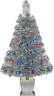 e62d6976664 Colorful Fiber Optic Silver Artificial Christmas Tree 32 inch with Stand.  Perfect for Small Spaces