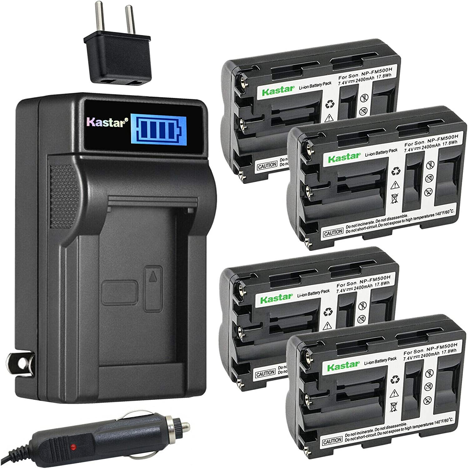 Kastar 4-Pack OFFicial mail order NP-FM500 Battery and Charger LCD Compatible wit Factory outlet AC