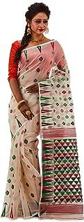 SareesofBengal Women's CottonSilk Handloom Jamdani Dhakai Saree Off-white