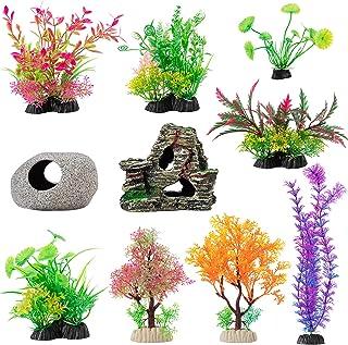 10 Pcs Aquarium Decoration Plants- Artificial Aquatic Plants Fish Tank Plastic Plants and Cave Rockery Set for Household O...