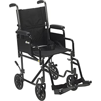 Amazon Com Drive Medical Lightweight Steel Transport Wheelchair Detachable Desk Arms 17 Seat Silver Vein Health Personal Care