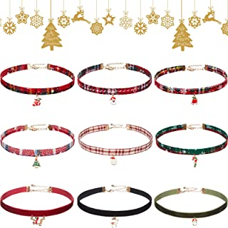 Yaomiao 9 Pieces Christmas Choker Necklace Sets Xmas Choker Adjustable Metal Pendant Choker Velvet Charm Choker Vintage Lo...