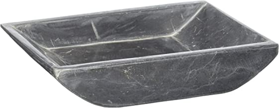 """Creative Home Charcoal Marble Stone Boat Shaped Candle Holder-Medium, 6-1/4"""" x 4-3/4"""""""