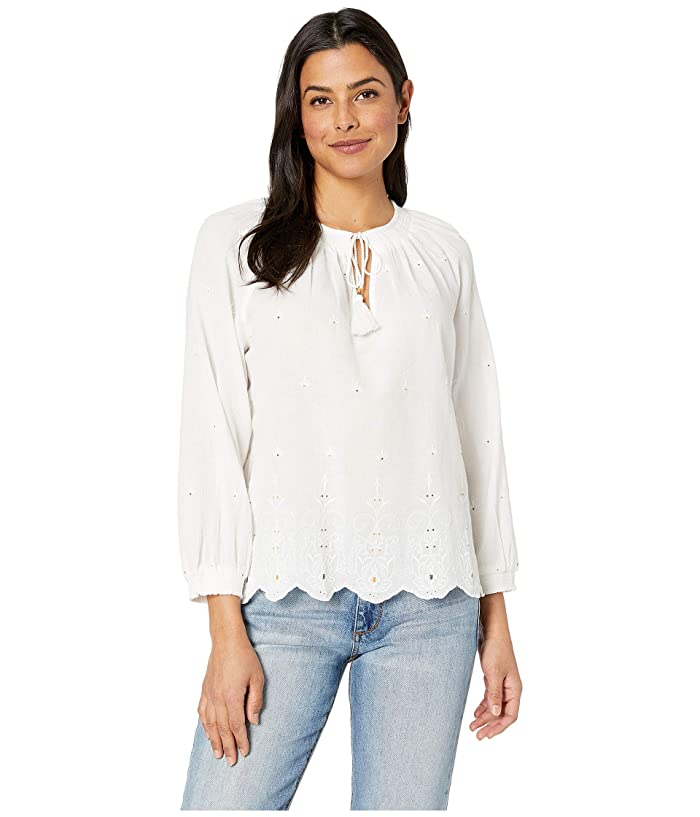 Lucky Brand  Eyelet Scalloped Edge Peasant Top (Lucky White) Womens Blouse